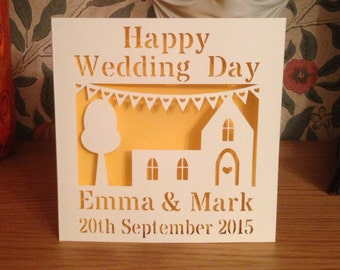 Wedding Card - Papercut - Personalised - Happy Wedding Day - Church - Gay Wedding Card - Lesbian Wedding Card - Personalized Card