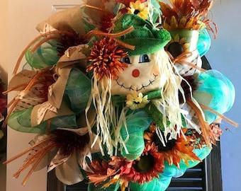 Scarecrow Wreath,  Sunflower Wreath,  Green Mesh, Fall Colors,   Lime green,  Orange Mesh,  Autumn Decor,   Pail, Large Door Wreath, Brown