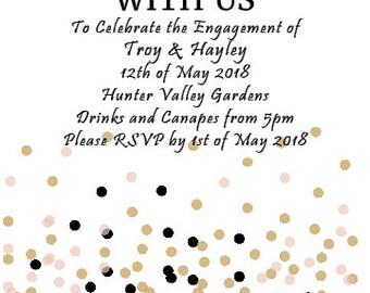 White & Gold Confetti Invitations