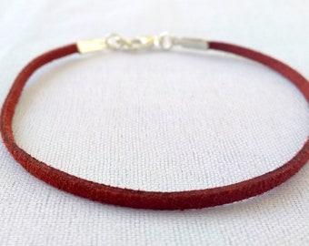 Flat Cotton Cord bracelet, customised men's bracelet,Dark brownish red color cord, Personalised bracelet for men, gift for him