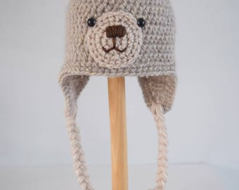 Crochet baby hat, Teddy Bear hat, Newborn photo prop, newborn/baby hat, baby boy, baby girl, newborn prop, Animal hat