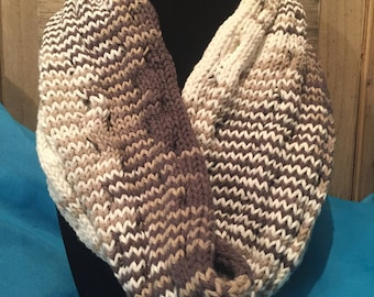 Ribbed Cowl, Scarf, Earth tones, Knitted