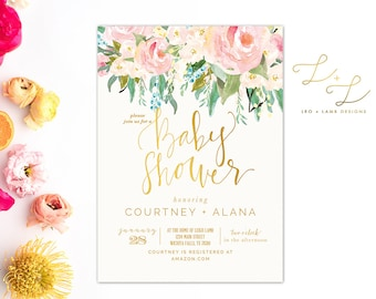 The Palmer Baby Shower invitation - Soft and Sweet Floral Baby Shower Invitation - Printable or Printed Baby Shower Invitation