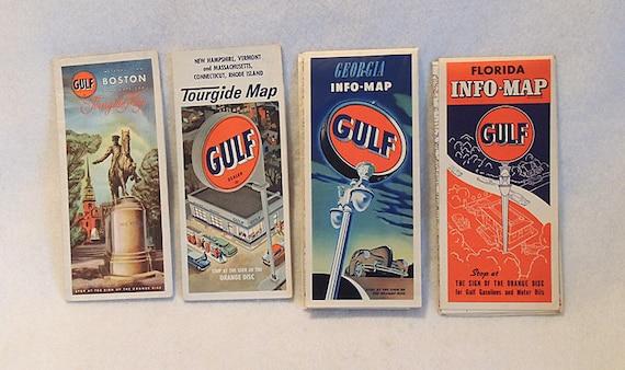 4 Vintage Gulf Oil Road Maps 1930-50s.. Georgia, Florida, Boston, New England