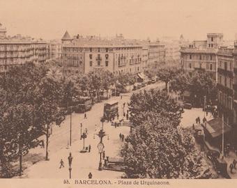 Barcelona, Spain, Plaza de Urquinaona - Vintage Postcard - Antique Postcard - B&W - Photo Postcard - Unused ~ No:53