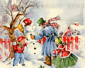Family Making A Snowman Christmas Card #249 Digital Download