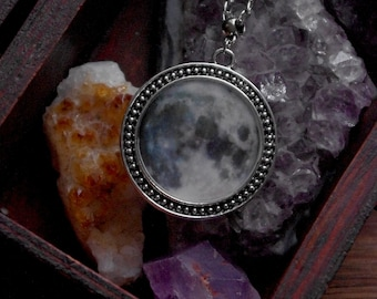 Full Moon necklace la luna Witch jewelry Witch necklace witchcraft jewelry moon pendant Galaxy lunar necklace Celestial moon phase necklace