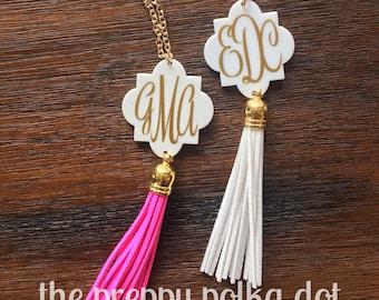 Monogram Tassel Necklace - Personalized Necklace