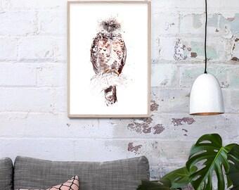 Australian Powerful Owl Art Print A3, A2, A1 & A0 Bird Watercolour Illustration giclee Art Print