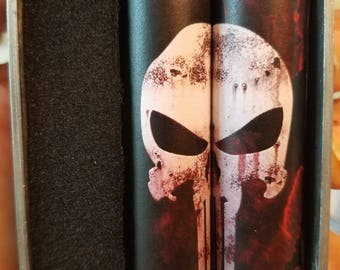 One Pair of 18650 Custom Battery Wraps - The Punisher