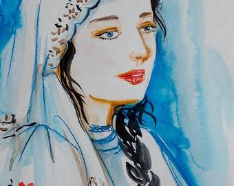 Ukrainian woman in a scarf Aquarelle. ORIGINAL watercolor painting by Nataly Basarab. Ethnic UKRAINE art. Украина Vyshyvanka shirt art