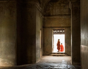 Angkor Wat monks photo, Cambodia photography prints, Buddha wall art, Siem Reap Buddhist temple print, Asian decor, Cambodian archaeology