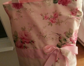 Cream & Pink Shabby Chic Retro  Romantic Roses Floral Purse Tote BAG or Diaperbag