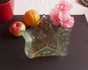 Fused and slumped glass serving bowl