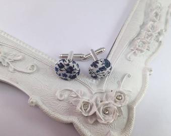 Blue fabric Liberty Phoebe - man cufflinks