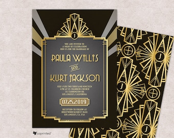 Great Gatsby Inspired Wedding Invitations Art Deco Wedding