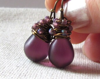 Plum Glass Earrings, Amethyst Glass Earrings, Plum Purple, Confetti Earrings, Czech Glass, Wire Wrapped, Antiqued Brass, Christmas Earrings