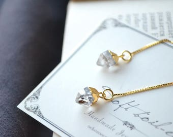 Herkimer Diamond with s925 Sterling Silver GP Ear Threaders