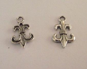 Set of 10 Silver tone Fleur de lis charms for jewelry