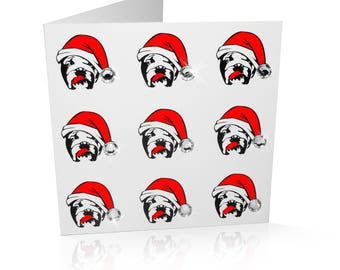 Limited Edition Bulldog Christmas Card: Bulldog in Santa Hat with Embellished Hat