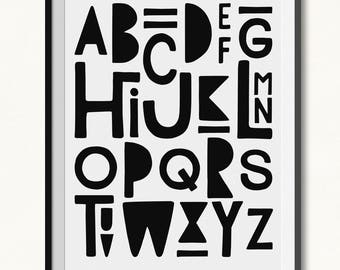 Alphabet Printable / Alphabet Print / DIGITAL / Monochrome Alphabet / Monochrome Print / ABC Print / ABC Wall Art / Abc's Printable