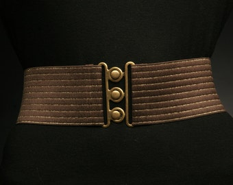 Chocolate Brown Elastic Belt with Gold Stripes