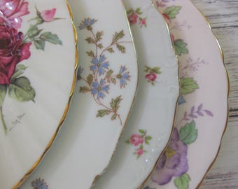 Mismatched China  Luncheon Plates,  Mismatched China Plates, Wedding Decor set of 4