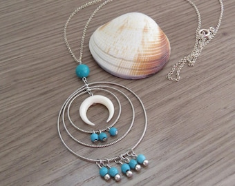 long necklace half moon circle turquoise 925 sterling silver round blue stone