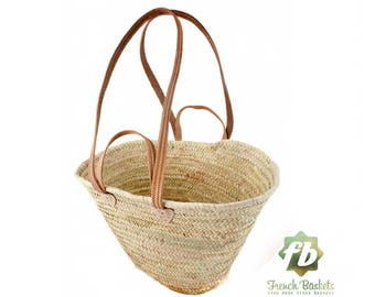 straw bag French Basket, Moroccan Basket,  french market basket, Beach Bag - french baskets Natural Basket Flat Leather Handle Double
