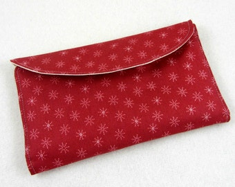 Women's wallet, red wallet clutch, card holder, handmade clutch wallet, gift for her, travel wallet