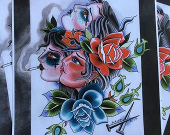 Three headed girl - Ashley Riot print