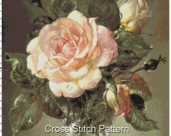 Cecil Cennedy Antique Big Rose Flower Counted Cross Stitch Patterns Embroidery Scheme Charts Xstitch Instant Download Digital PDF