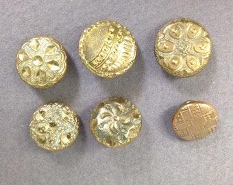6 Brass buttons 1850's golden age