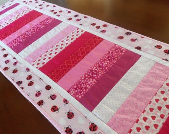 Valentine's Day  Table Runner/ Red Pink Hearts and Ladybug Quilted  Table Runner/Valentine Decor