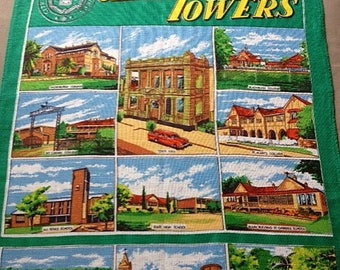 Souvenir Tea Towel Charters Towers QLD Vintage 1970's 100% Irish Linen Scenes of Charters Towers by Lamont