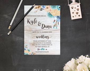 Hochzeit Einladungen Böhmischen Scheune Hochzeit Einladung Kit Boho  Hochzeitseinladung Set Blau Und Beige Hochzeit Lädt Fallen