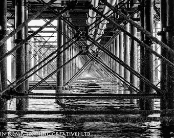 Fine art black and white photo - Under the pier, Southend photography, seaside art, various sizes, Southend Pier.