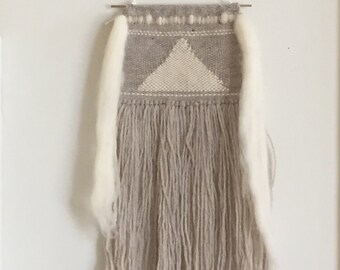 Grey,White and Tan Roving Weaving Wall Hanging / Hand woven tapestry
