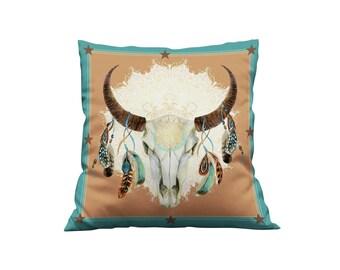 Boho Western Bull skull  Throw Pillow, Boho, Accent Pillows, Home Decor