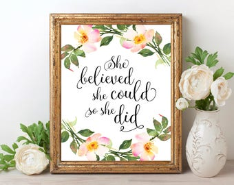 She Believed She Could So She Did PRINTABLE Nursery Decor Motivational Quote Printable Wall Art for Girls Room Nursery Print Kids Room Decor