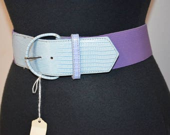 Vintage 80s Pastel elastic and faux leather belt in soft periwinkle blue soft blue and purple. lavender. SM Deadstock 26 through 30 waist
