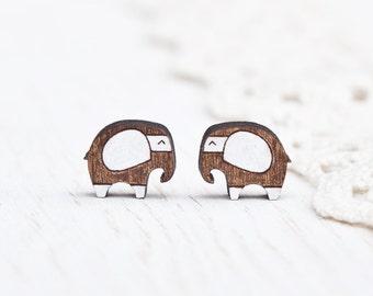 Brown Stud Earrings, Elephant Ear Posts, Funny Earrings, Teen Girls Gift, Small Earrings, Wooden Earrings, Kids Jewelry, Elephant Earrings