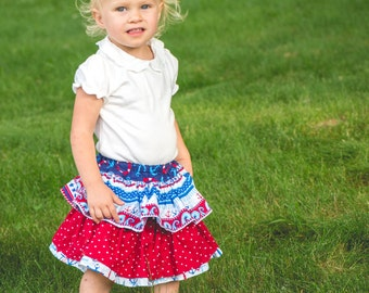 Toddler layered Skirt - Ruffle Skirt - Baby Bloomers - Red Bloomers - White Bloomers - Blue Bloomers - Nautical Bloomers - Anchor Bloomers