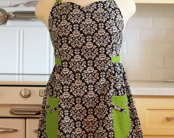Retro Apron Plus Size Sweetheart Neckline Black and White Floral Damask with Lime Green BETTY