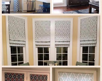 "Custom Roman Shade with Regular Lining. Pottery Barn Size of 48"" wide x 64"" long. Any Fabric."