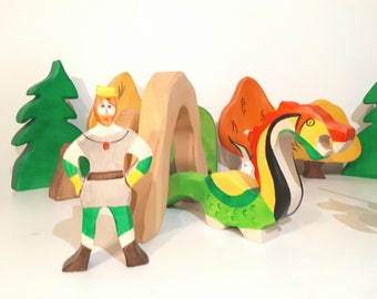 SALE Fairytale toy set, Princess and Prince toy, Knight & Dragon, Waldorf wood toy, Dragon cave toy,  damsel in distress toys, Dragon Slayer