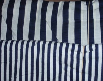 """Blue Navy & Ivory Stripe Cotton Quilters Fabric BTHY Cotton 45"""" Wide"""