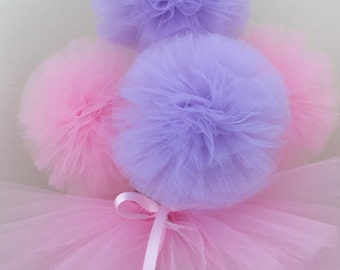 10 tulle pom poms centerpiece,Ballerina Party Decoration,princess Party Centerpiece,baby shower,pom poms centerpiece