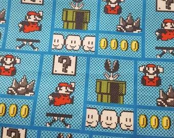 Super Mario Brothers Minky Blanket / Handmade Baby Boy Shower Gift / Retro Nintendo Video Game