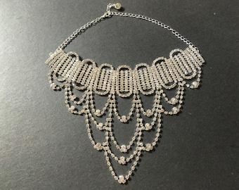 Victorian Style Choker, Wedding Jewelry Rhinestone Crystals Bridal Choker Necklace, Chandelier Necklace, Crystals Necklace